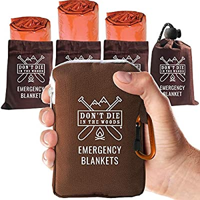 World's Toughest Emergency Blankets | 4 Pack Extra Large Thermal Mylar Foil Space Blanket for Hiking, Marathon Running, First Aid Kits, & Outdoor Survival Gear | Orange