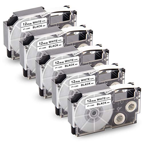 """Unismar Replacement for Casio XR-12WE 12mm Label Tape for Casio KL60 KL-100 KL120 KL-750 KL-780 KL-G2 KL-1500 KL-2000 KL-7000 KL-7200 KL-130 KL-820 EZ Label Maker, 1/2"""" x 26.2', Black on White, 5-Pack"""