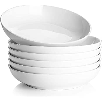 DOWAN Pasta Bowls, White Soup Bowls 30oz, Large Salad Bowls Set, Porcelain Pasta Plates and Bowls, Wide and Shallow Bowl Set of 6, Microwave and Dishwasher Safe
