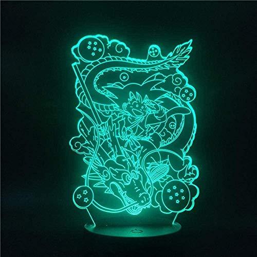 Luz nocturna 3D ilusión – Bola de dragón para chicos Goku y Shenron Creativa Anime LED Lámpara de noche – con mando a distancia – Decoración para dormitorio – Niño Navidad regalo de cumpleaños