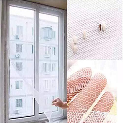 ADGO Mosquitera 150 x 130 cm + nabo. Transparente/malla lavable/red de insectos ajustable, tamaño de ventana DIY – protección contra mosquitos y insectos