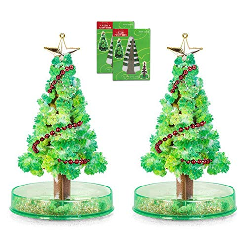 Seamaid 2 Packs Crystal Growing Kit Magic Growing Christmas Tree Novelty Kit for Kids DIY Crystal Christmas Tree Funny Educational (2 pcs)