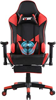 GANK Gaming Chair Large Size Racing Office Computer Chair High Back PU Leather Swivel Chair with Adjustable Massage Lumbar Support and Footrest (Red)