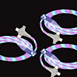 YB-OSANA 3 Packs 3A 5ft 3 in 1 Charger Cable Flowing Led Charger Cord Multiple Charging Cable with Type C/Micro USB Compatible with All Phones/Galaxy Note 20 Ultra/S21 (Color-Changing)