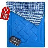 Fundango Warme Schlafsäcke Queen Size Thickened XL! Doppelschlafsack für Outdoor-Backpacking, Camping, Wandern. Kaltes Wetter 2-4 Personen Flanellschlafsack für Erwachsene mit Zwei Kissen