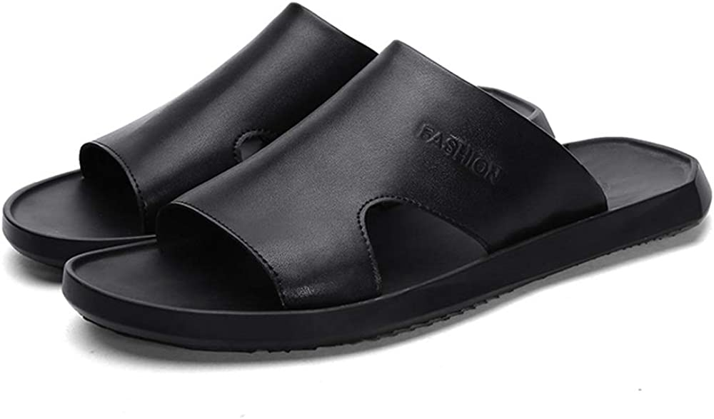 Durable Slippers for Men Sandals Casual Slip On Style PU Leather Simple Pure Color Flexible and Breathable