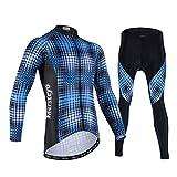 TTPF Maglia da Ciclismo Manica Lunga Set Giacca da Bicicletta da Uomo Camicia in Mesh Traspirante Confortevole in Gel 3D ad Asciugatura Rapida per la Guida all'aperto,L