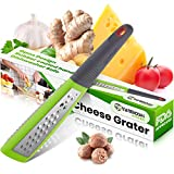 Yarmoshi Stainless Steel Handheld Grater Shredder - For Fruit, Vegetables, Nuts, Cheese and Zest, w/Comfortable, Ergonomic Rubber Handle and Non-Slip, Non-Scratch Edge, 11 x 1.8 Inches Kitchen Gadget