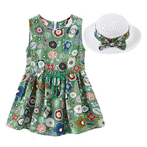 IMJONO Style de Vacances Fille Robe sans Manches Robe à Fleurs bébé Fille + Chapeau de Paille Ensemble de vêtements pour 2020 Tenue d'été pour Enfants 2-7 Ans (Vert,2-3 Ans