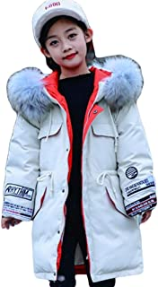 Korean Version of The Cute Thick Children's Down Jacket, Long Section 2019 New Boys and Girls in The Big Children's Baby Jacket,White,140