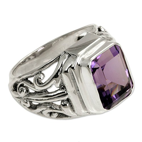 NOVICA Square Amethyst .925 Sterling Silver Men's Ring, Wisdom Warrior'