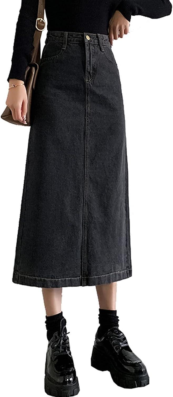 IKIIO Women's Casual High Waist Slit Hem Denim Skirt A Line Relaxed Fit Skirts with Pockets