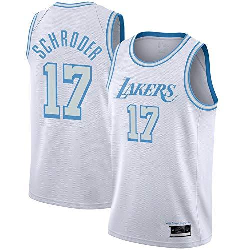 K&S Sport Dennis Schröder Los Angeles Lakers Weiß Trikot, Dennis Schröder Los Angeles Lakers City Edition Swingman Trikot für Herren (Weiß, L)