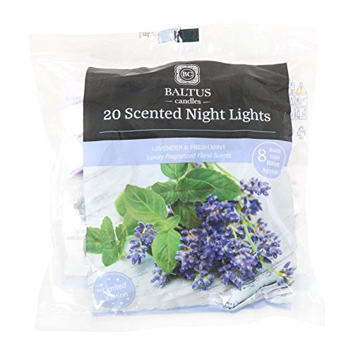 Baltus Candles Pack of 20 Tealight Night Light Candles With Lavender & Fresh Mint Fragrance Limited Edition