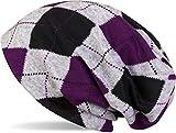 styleBREAKER Gorro Beanie de Punto con Motivo a Cuadros clásico en Apariencia Vintage mezclada, Unisex 04024055, Color:Gris-Negro-Violeta