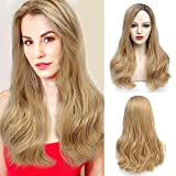 DDHAIR 24 Inches Ombre Blonde Wigs for Women with Natural Wave Curly Long Blonde Wig Heat Resistant Synthetic Wig (Color: Dirty Blonde)