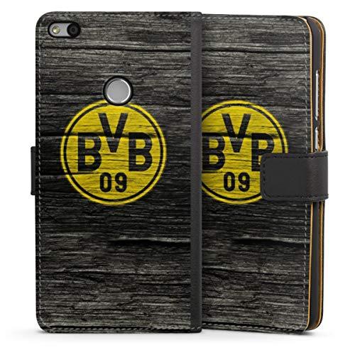 Sideflip compatibel met Huawei P8 Lite 2017 Bookcase Flipcase Borussia Dortmund BVB Houtoptiek