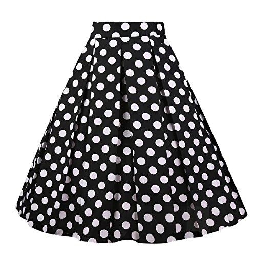 Girstunm Women's Pleated Vintage Skirt Floral Print A-line Midi Skirts with...