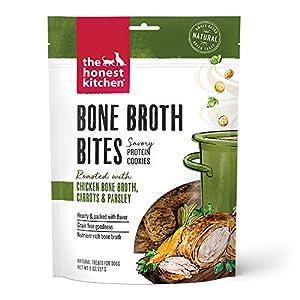 The Honest Kitchen Bone Broth Bites – Savory Protein Cookie Dog Treats – Chicken Bone Broth, Carrots & Parsley, 8 oz. Bag