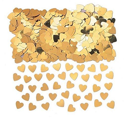 amscan 9900858 Confettis métalliques en forme de cœurs dorés 14 g