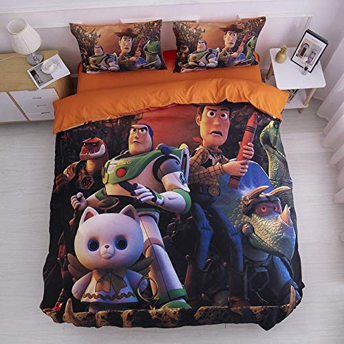 Avvsovs Duvet Quilt Cover & Pillowcase 3D Cartoon toy character Design Pattern Lightweight Microfiber Bedding Set(Double 200 x 200 cm) Zipper closure Duvet cover set boy girl child Bedding set