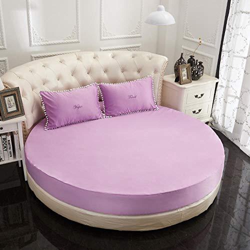 HPPSLT Protector de colchón Acolchado - Microfibra - Transpirable Sábana Acolchada Redonda Engrosamiento-púrpura-Capa única_2.2m