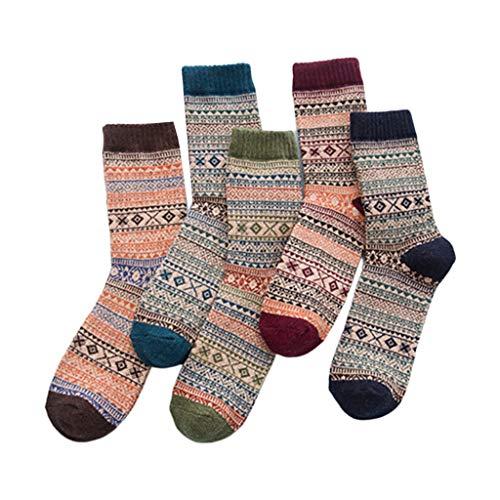 RK-HYTQWR 5 Pares de Calcetines de Punto de Lana sintética Vintage para Hombre, calcetería cálida con Rayas en Bloques de Color, Calcetines cálidos étnicos para Hombre, Rojo Vino