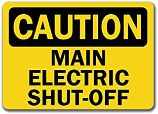 Caution Sign - Main Electric Shut-Off - Safety Sign Label Decal Sticker Retail Store Sign Sticks to Any Surface 8