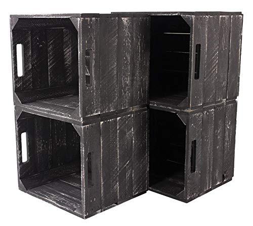 Obstkisten-online 8 Stück Neue graue Holzkiste Weiss Grey wash für IKEA Kallax Regal Expedit 33cm x 37,5cm x 32,5cm Einsätze weiß Obstkisten Weinkisten Aufbewahrungsbox Vintage Regal Regalkiste