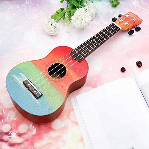 PNLD Ukulele Handgemalte Combo 21 Ukulele Schwarz Sopran 4 Streicher Uke Bass Saitenmusikinstrument Perfekt for Anfänger (Farbe : Multi, Größe : 21 inches)