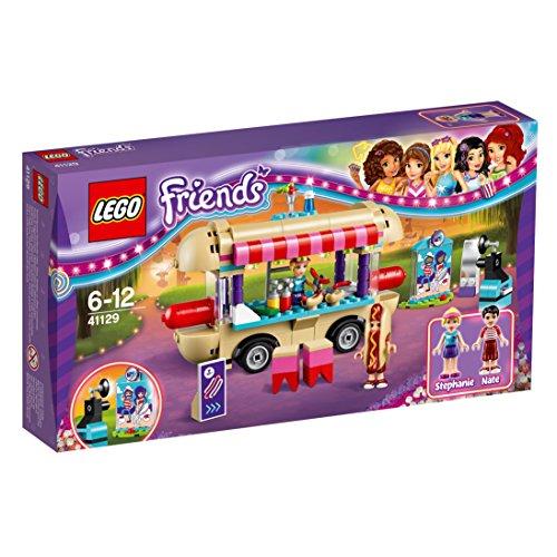 LEGO Friends - Parque de Atracciones, Furgoneta de Perritos Calientes, Juguete de Construcción Incluye MiniFiguras de Nate y Stephanie (41129)
