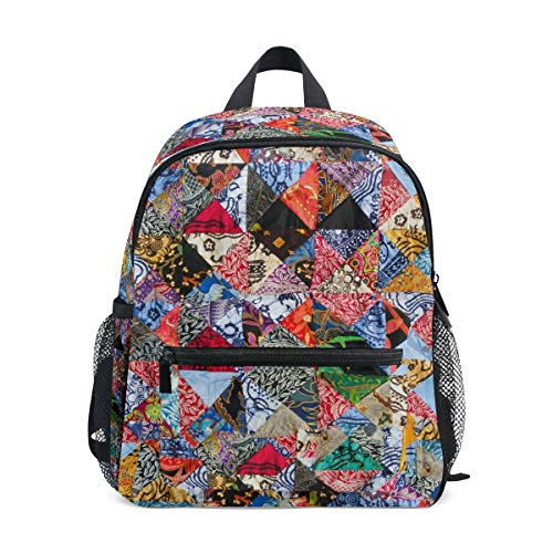 Art Colorful Toddler Backpack Bookbag Mini Shoulder Bag for 1-6 Years Travel Boys Girls Kids with Chest Strap Clip Whistle
