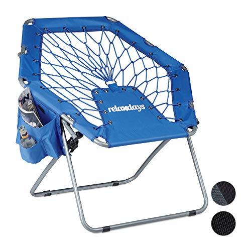 Relaxdays 1 x Bungee Stuhl Webster, elastisch, Federung, faltbar, bis 100 kg, Seitentasche, Outdoor Gartenstuhl, Klappstuhl, blau