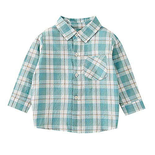 Moily Kids Little Boys Long Sleeve Basic Tops Button-up Plaid Shirt Spring Fall Casual Outfits Dusty Green 6-9 Months