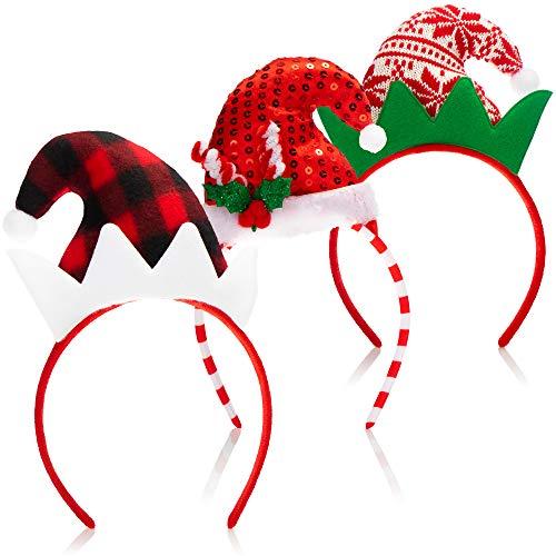 com-four® 3X Haarreif Weihnachten - Weihnachtsmütze - Verkleidung Weihnachtself - Haarreifen mit Zipfelmützen Design - Weihnachtskostüm (3 Stück - Haarreif Weihnachten)