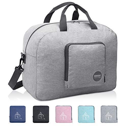 Faltbare Reisetasche 20-50L Superleichte Reisetasche für Gepäck Sport Fitness Wasserdichtes Nylon von WANDF (Hell-Grau, 20L)