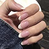 Obmyec French Oval Press on Nails Pink Glossy Fake Nail...