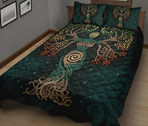 WINBACKING Celtic Tree of Life Quilt Bed Set The Soul of Celts Bedding Set 3 Pieces Quilt Cover with Pillowcase Cover Soft Comfortable for Kids Parents US Twin Queen King Size