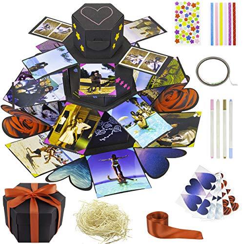 SCULIA Verrassingsbox, fotoalbum om zelf vorm te geven, explosiebox, fotobox met acrylstiften, gepersonaliseerd geschenk voor vrouwen/vriendin/verjaardag/jubileum/Valentijnsdag/Moederdag