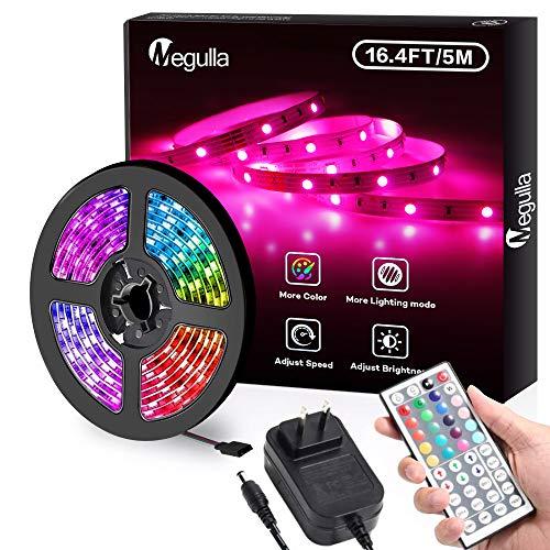 Megulla - Tira de luces LED RGB de 5 m, impermeable, multicolor, con mando a distancia RF y fuente de alimentación de 12 V para cocina, sala de estar y recámara