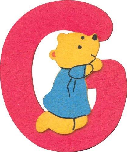Alphabet Lettre G en Bois avec design ourson