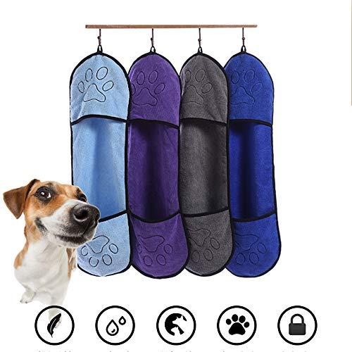 LIANHUI huisdier hond handdoek microvezel droge handdoek badhanddoek huisdier kat en hond sneldrogende strandhanddoek deken super zacht super absorberend, met handtas, L, Grijs