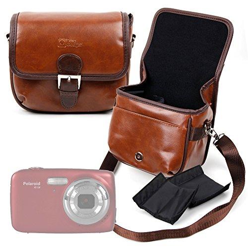 DURAGADGET Bolsa Profesional marrón tamaño Mediano.con Compartimentos para Polaroid iE126 | IE090 | IX828 | Izone iE877 | IS525
