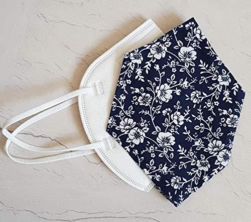 Überzug Cover für Maske Blumen dunkelblau Mundschutz Maske Verschönerung Baumwolle Maskenüberzug Abdeckung waschbar Handarbeit