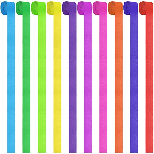 Neworkg 12 Rolls Party Streamers Rainbow Crepe Paper Streamer for Party Backdrop Decorations, 82 Feet Per Volume