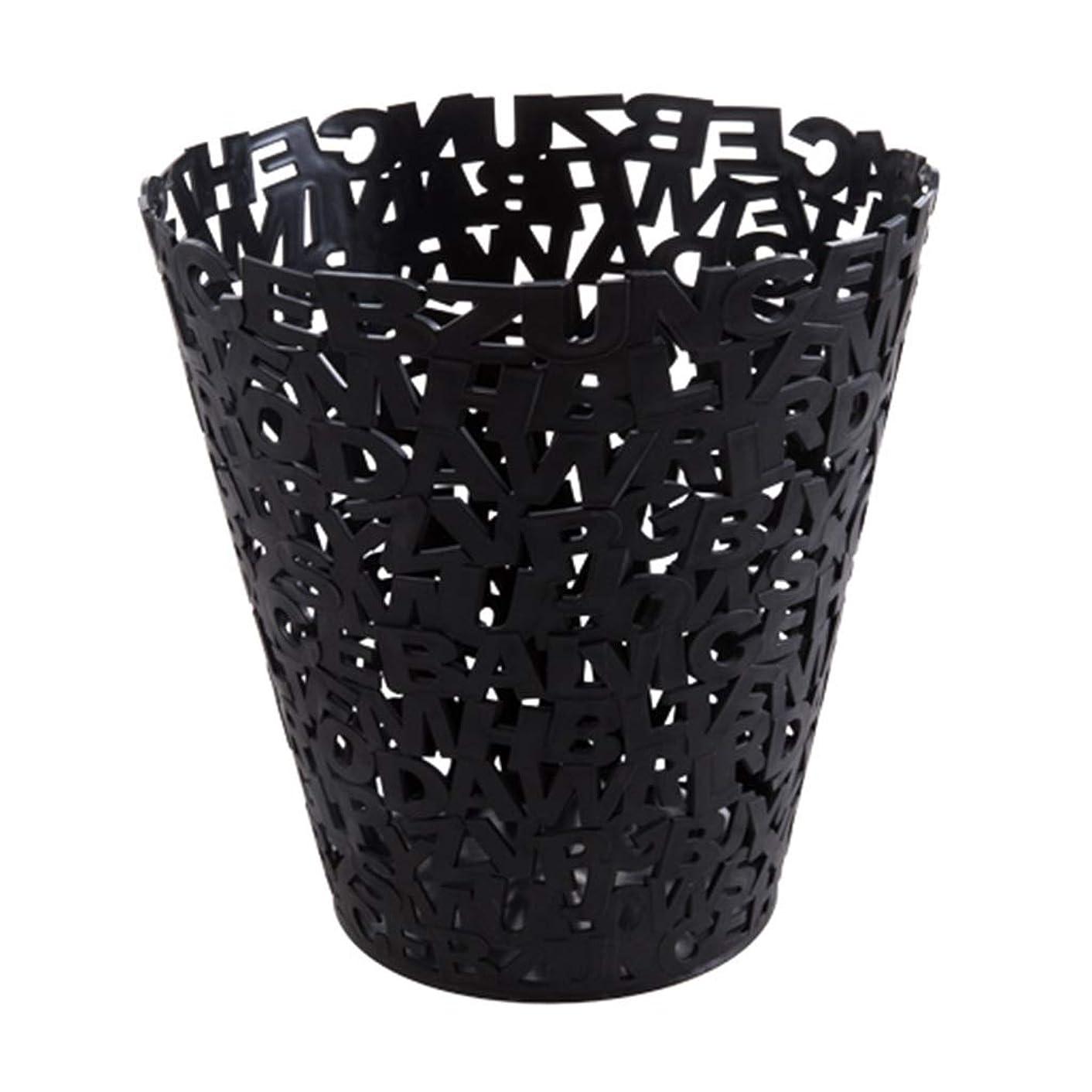 ゴミ箱プラスチックゴミ箱 PP素材と文字パターンデザイン、キッチンリビングルームのバスルーム アナックボーイ (Color : Black)