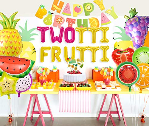 Kreatwow Twotti Fruity Birthday Decorations Party Supplies Twotti Frutti Balloons Cupcake Topper Grape Pineapple Watermelon Balloons for 2nd Birthday Baby Shower