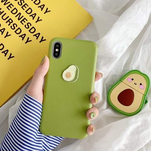 SCBJBZ Sommerfrucht Avocado-Stickereifall für iPhone 7 8 6 6s Plus x xs xr xsmax Bananenpeeling weiche lederne Hautabdeckung für iPhone Fall für iPhone XS MAX Avocadogrün