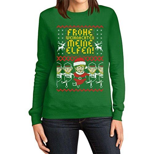 Lustiger Hässlicher Weihnachtspullover mit Merkel und Elfen Frauen Sweatshirt Medium Grün