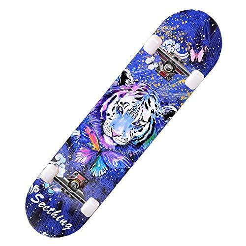 ZHBH Complete Pro 79 cm standard lönn skateboard, LED-lätta hjul för pojkar flickor nybörjarborste gatudans bräda tiger cruiser lastlager 150 kg (blixthjul)